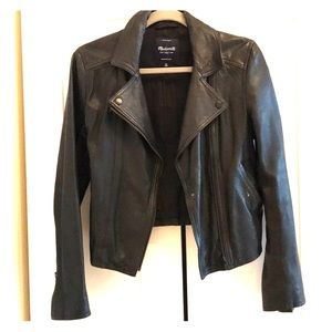 Madewell black leather motorcycle jacket